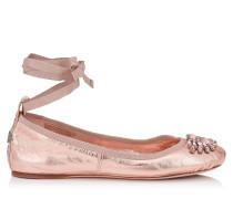 Grace Flat Ballerinas aus rosanem Nappaleder in Metallic-Optik mit Schleife