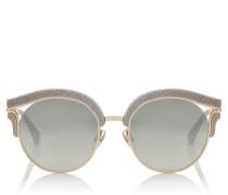 Lash Cat-Eye-Sonnenbrille in Bronze und Silber mit Glitzer und umtauschbaren Clips