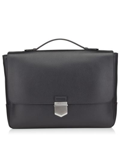 Jimmy Choo Herren Heston Dokumenttasche aus schwarzem genarbtem weichen Kalbsleder