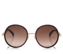 Andie Sonnenbrille mit rundem Gestell aus violettem Acetat und Lurex