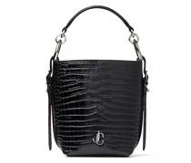 Varenne Bucket/s Handtasche aus schwarzem glanzvollen Leder mit Krokodilprägung und JC Emblem