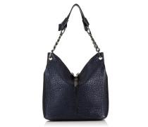 Raven/s Handtasche aus dunkelblauem genarbtem Leder in Metallic-Optik