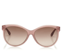 Glee Sonnenbrille in Nude mit Cat-Eye-Gestell und goldenem Lurex