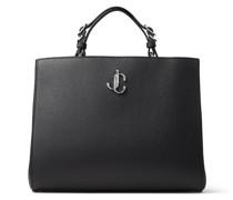 Varenne TOP Handle L Handtasche aus schwarzem genarbten Leder mit Tragegriff und silbernem JC-Emblem