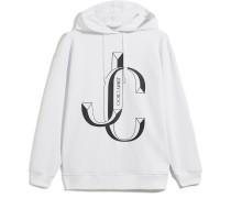 Jc-Hoodie Oversize Kapuzenpullover aus weißer Baumwolle mit JC Logo
