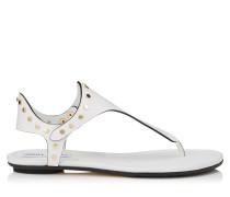 Dara Flat Sandalen aus weißem Vachetteleder