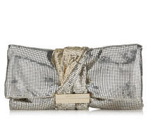 Chandra/m Clutch aus goldenem Leder in Metallic-Optik mit Kettenriemen