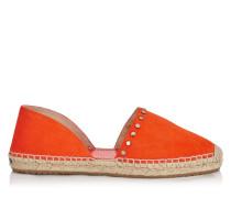 Dreya Espadrilles aus orangenem Wildleder mit Nieten