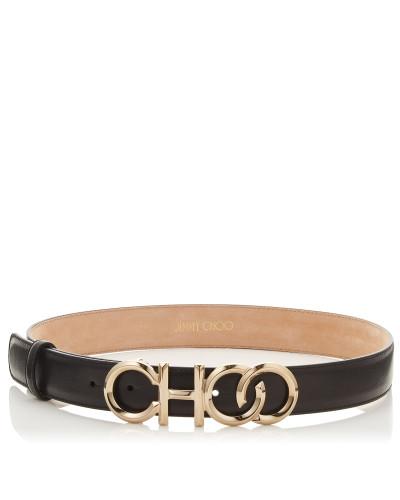 Choo Belt/l Choo Gürtel aus schwarzem Nappaleder mit Metalllogo