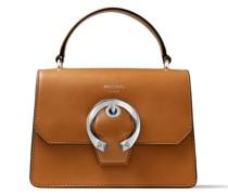 Madeline Satchel/s Handtasche aus braunem Kalbsleder mit metallischer Schnalle