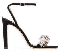 Thyra 100 Sandaletten aus schwarzem Wildleder mit Kristall-Pavé