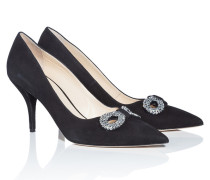 Satin-Pumps mit dekorativer Schnalle