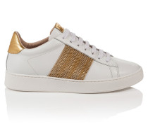Leder-Sneakers mit goldfarbenen Kettchen