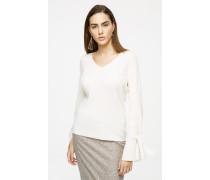 Pullover aus Wolle-Kaschmir-Mix mit Schleife am Ärmel