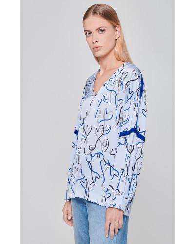 Bluse mit Kristall-Printdetail