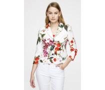 Kurzer Jacquard-Blazer im floralen Design