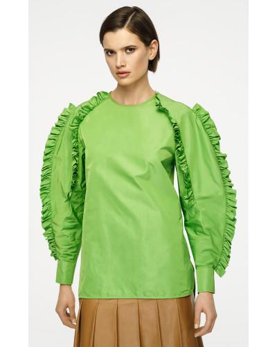 Bluse aus Seiden-Mix mit Rüschenärmeln