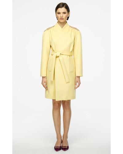 Mantel aus Wolle und Kaschmir mit Verzierung