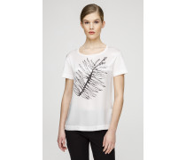 T-Shirt mit Print aus Satin und Jersey