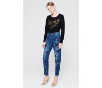 Boyfriend-Jeans mit Stern-Patches