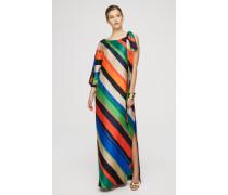 Langes Seidenkleid im Multicolor-Streifendessin
