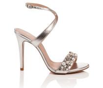 Leder-Sandalette mit Ziersteinchen und -perlen