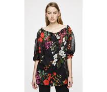 Bluse aus Baumwoll-Voile im floralen Design