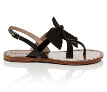 Leder-Sandale mit Ripsbandschleife
