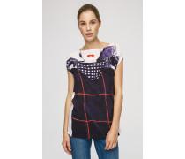T-Shirt mit angeschnittenen Ärmeln und Print