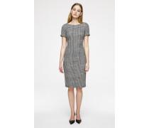 Woll-Kleid im Karo-Dessin mit Cut-out-Detail