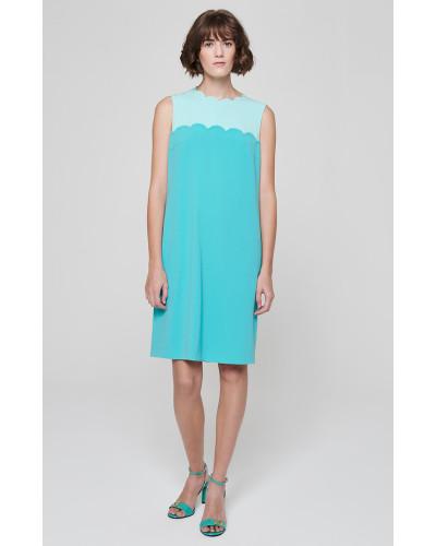 Kleid im Zweifarben-Design mit gewellten Details