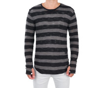 Oversize-Pullover 'Rip Stripe' Schwarz-Grau