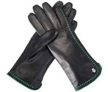 Handschuh Klassiker Lederdurchzüge Schwarz Grün