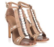 Sandaletten Mit Fransen Braun