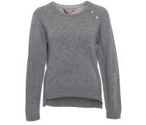 Cashmere Sweater Mit Zip Grey Melange