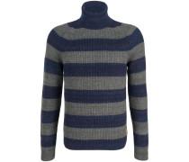 Rollkragen-Pullover Schurwolle Streifen Blau-Grau