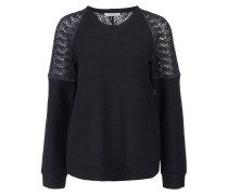 Sweater 'Lace it Up' Spitze Schwarz