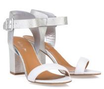 Block-Heel Sandalen Silber Weiss