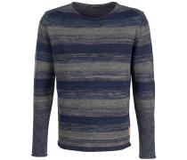 Pullover Schurwolle Streifen Blau-Grau