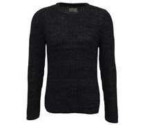 Dag Two Tone Baumwoll Pullover Black Grey