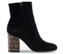 Velours Ankle Boots mit Perlenabsatz Negro