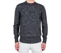 Wollpullover Rundhals Schwarz-Weiß
