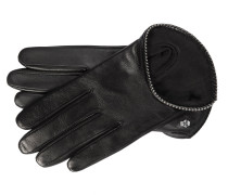 Handschuh 'Pearls Piping' Nappa/Seide Schwarz