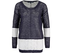 Laila Lace Knit Sweater Utility Blue/Winter White Lace