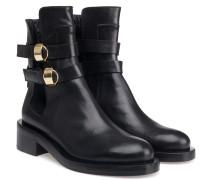 Boots Leder Schwarz