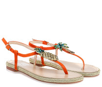 Sandalen Mit Strass Orange Gold
