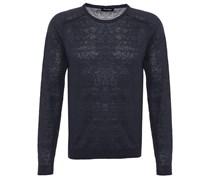 Crew-Neck Leinen Pullover Blau