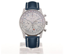 Navitimer World 46 Chronograph Silver Dial Blue Leather Strap Buckle A2432212/G571/101X/A20BA.1