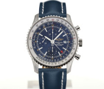Navitimer World 46 Chronograph Blue Dial Blue Leather Strap Buckle A2432212/C651/101X/A20BA.1