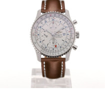 Navitimer World 46 Chronograph Silver Dial Light Brown Leather Strap Buckle A2432212/G571/439X/A20BA.1
